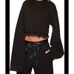 Puma x Rihanna Black Oversized Sleeve Crop Sweater
